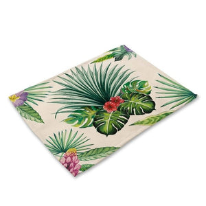 Floral Tropical Palm Leaf Print Table Placemat