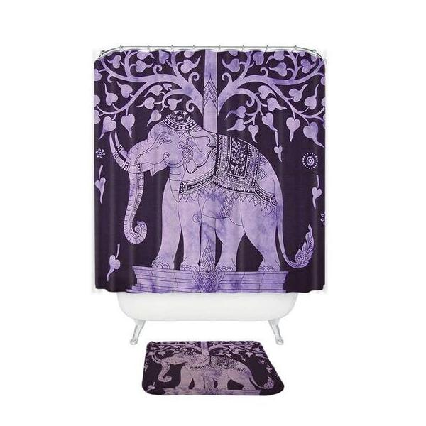Multi-Color Bohemian Elephant Shower Curtain / Bath Mat