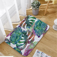 Multi-Color Tropical Palm Leaf Shower Curtain / Bath Mat