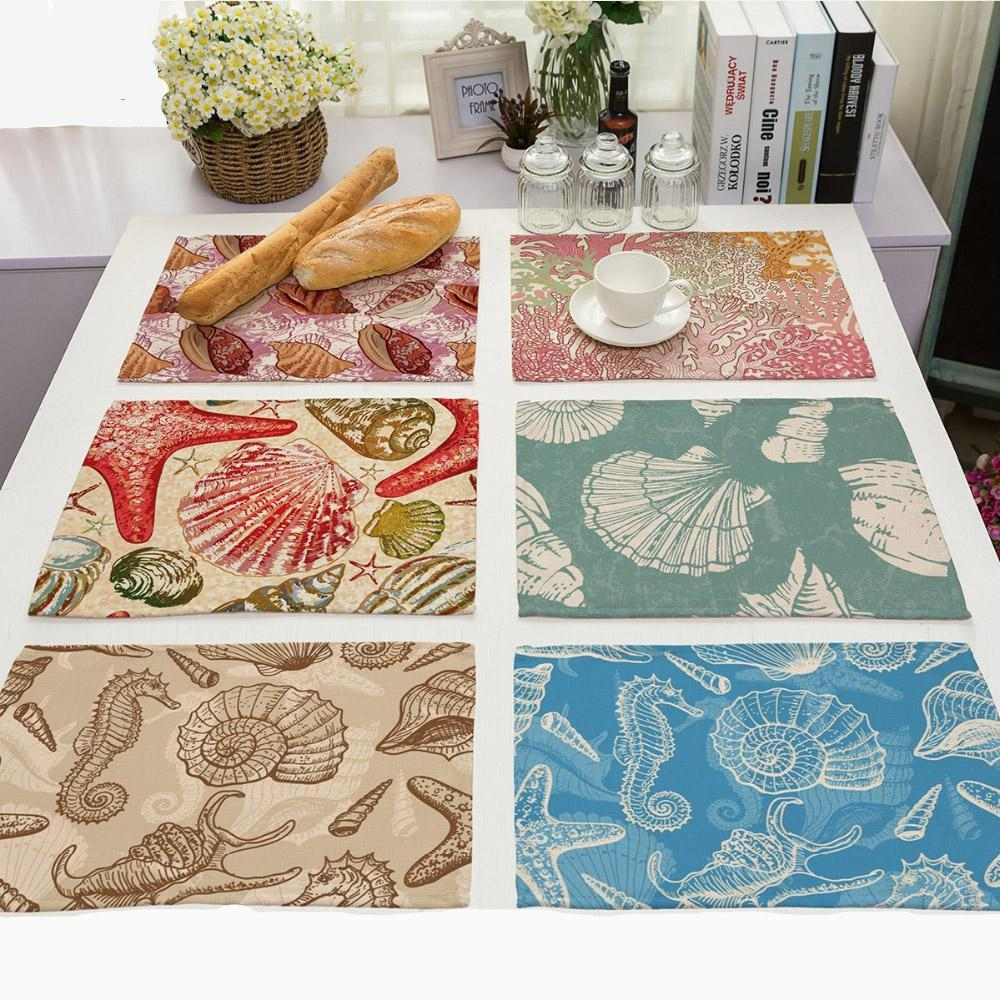 Ocean Sea Life Shell Print Table Placemat