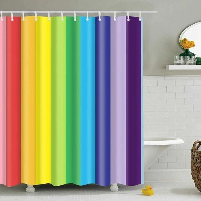 Colorful Rainbow Stripes Bathroom Shower Curtain