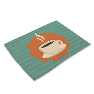 Brown / Teal Cafe Coffee Print Table Placemat