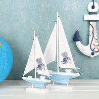 Decorative Blue / White Wooden Model Sailboat