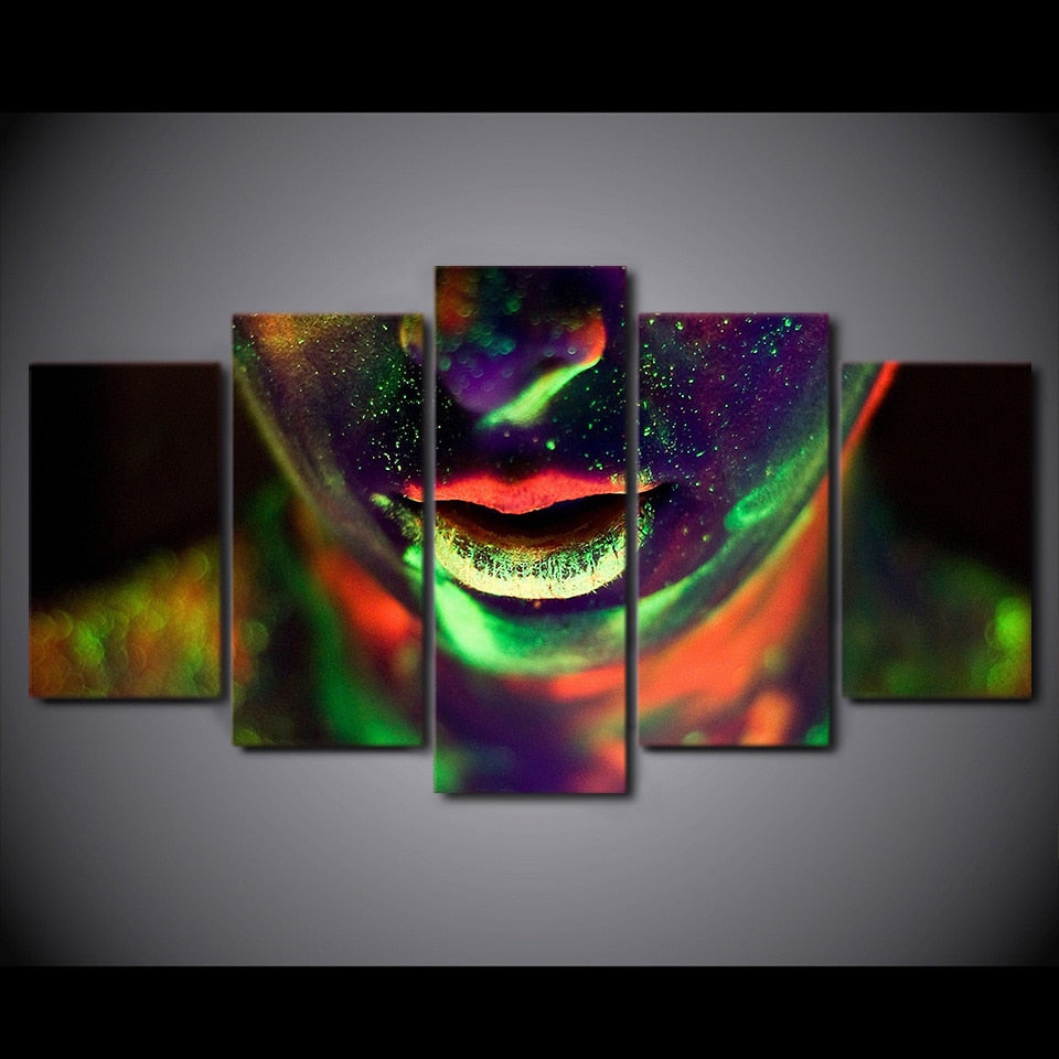 5-Piece Glowing Facial Body Paint Canvas Wall Art