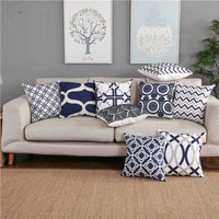 "18"" Blue / Gray Embroidered Geometric Pillow Cover"