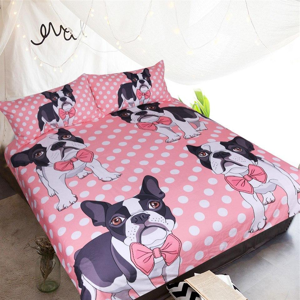 Pink 3-Piece Polka Dot Puppy Dog Duvet Cover Set
