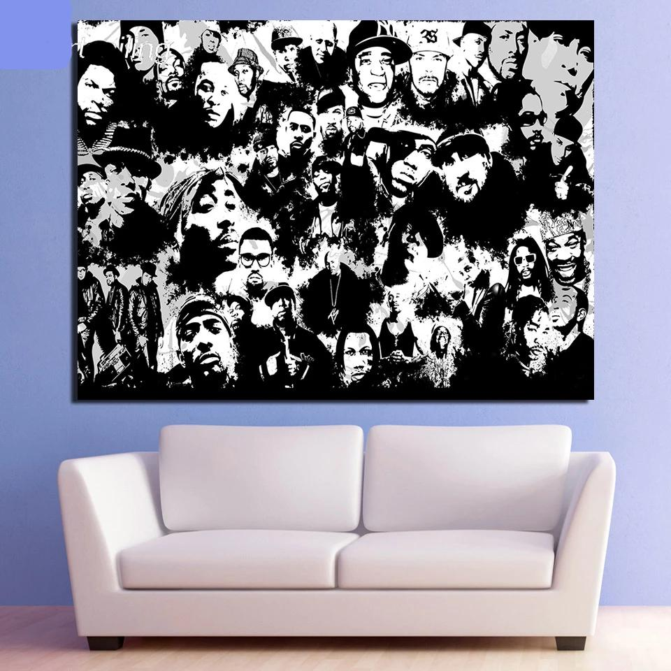 Black & White Canvas Hip-Hop Rap Collage Wall Art