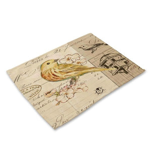 2-6 Piece Vintage Bird Print Table Placemat Set