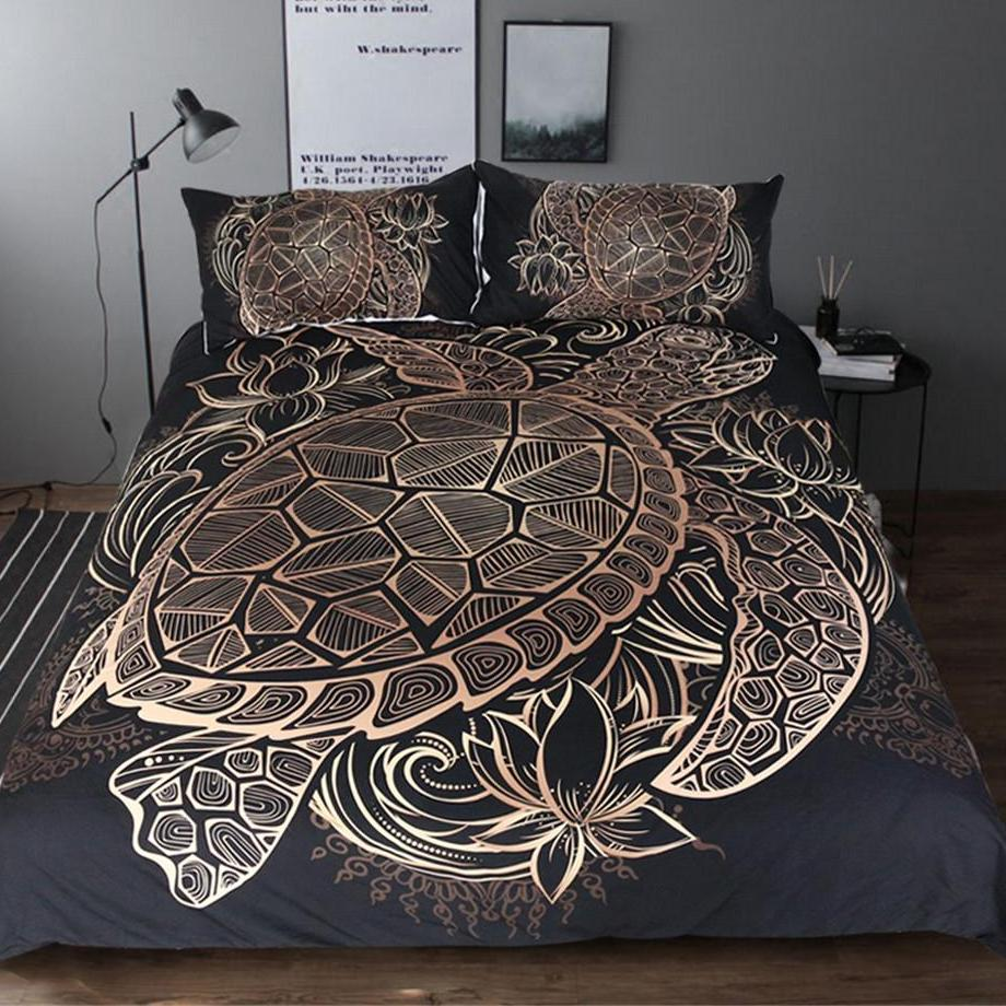 3-Piece Patterned Gold Sea Turtle Duvet Cover Set
