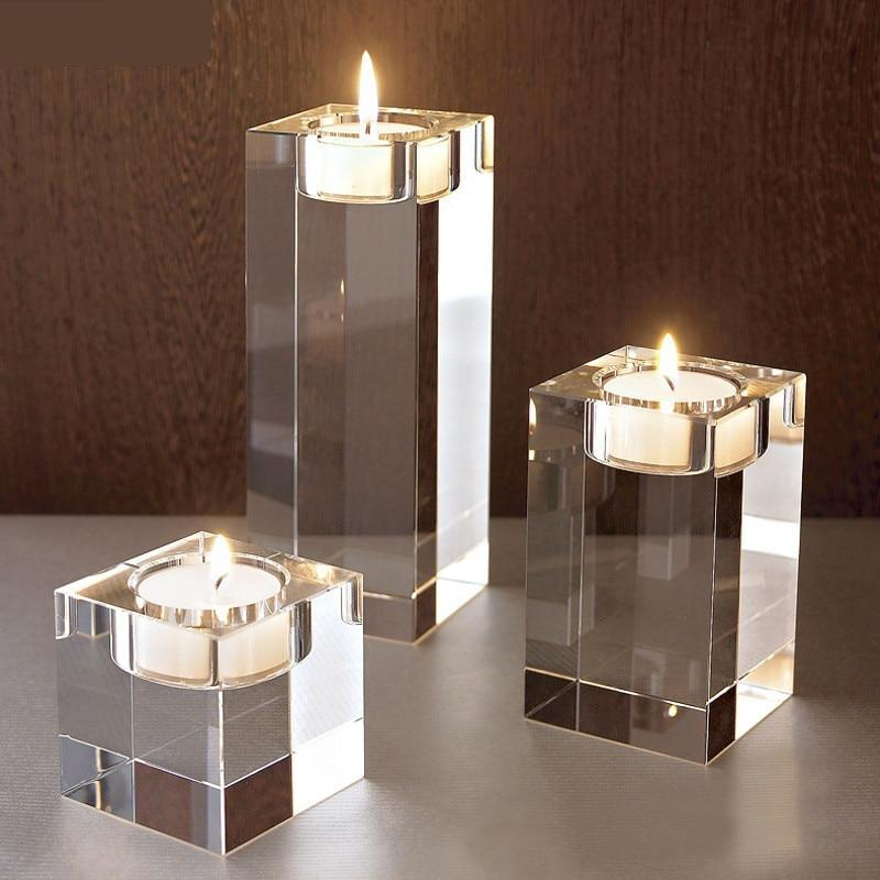 Solid Square Glass Tealight Stand Candle Holder