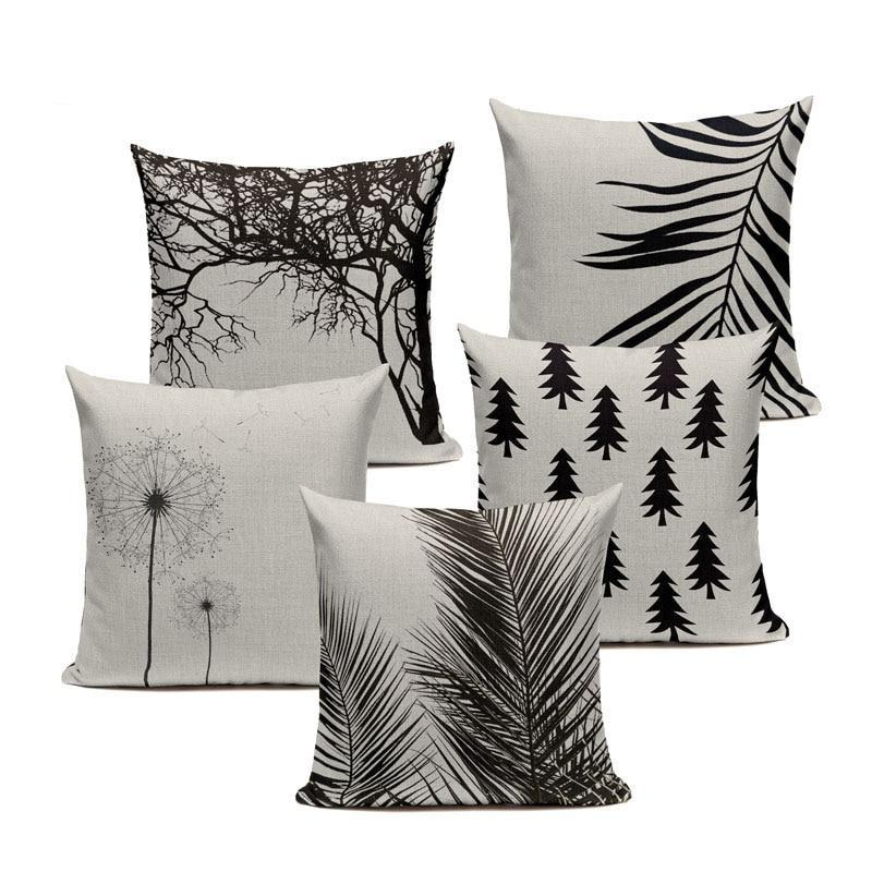 "18"" Black Tree Branch / Tree Pattern Throw Pillow Cover"