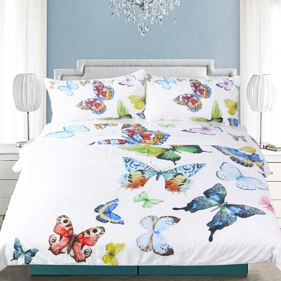 White 3-Piece Colorful Flying Butterflies Duvet Cover Set