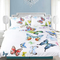 White 2/3-Piece Colorful Flying Butterflies Duvet Cover Set