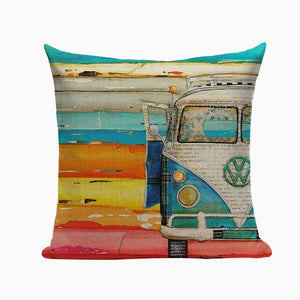 "18"" Colorful Retro Beach Painting Throw Pillow Cover"