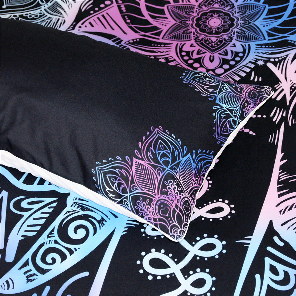 Black 3-Piece Purple Bohemian Elephant Duvet Cover Set