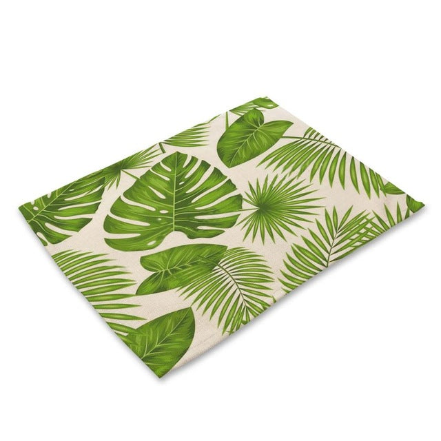 Green Tropical Palm Leaf Print Table Placemat