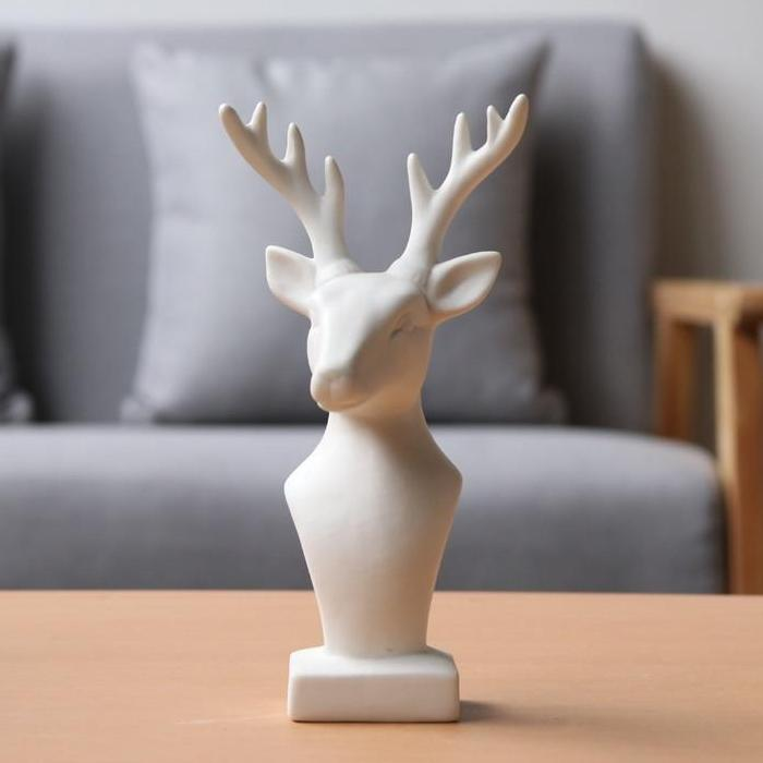 Ceramic Elk / Deer Head Sculpture Figurine