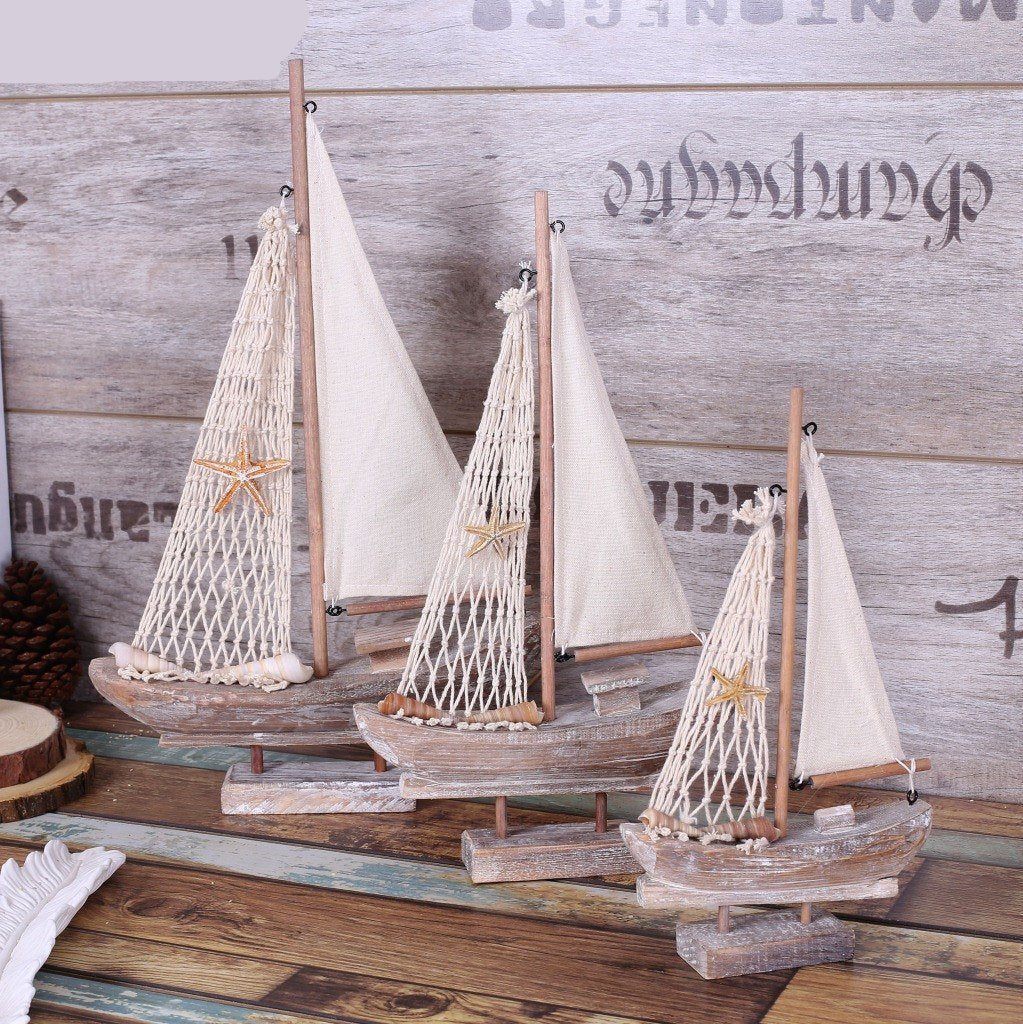 Decorative Rustic Wooden Sailboat