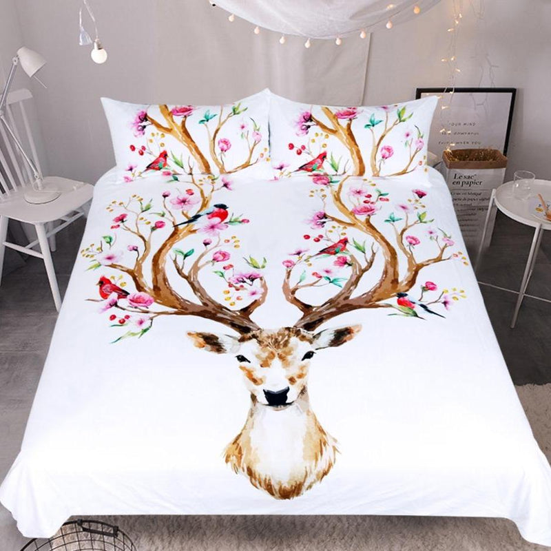 White 3-Piece Floral Elk Antler Duvet Cover Bedding Set