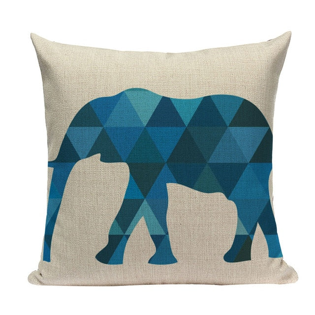 "18"" Simple Blue Nordic Love Print Throw Pillow Cover"