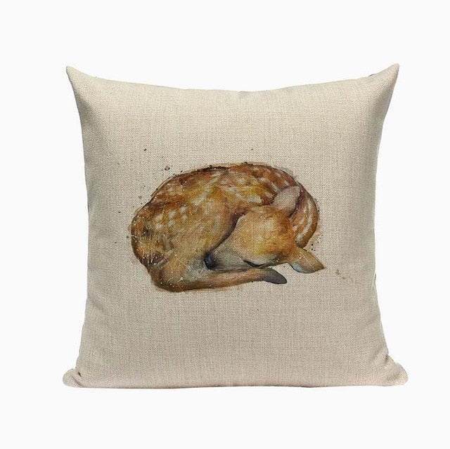 "18"" Cute Baby Animal Portrait Throw Pillow Cover"