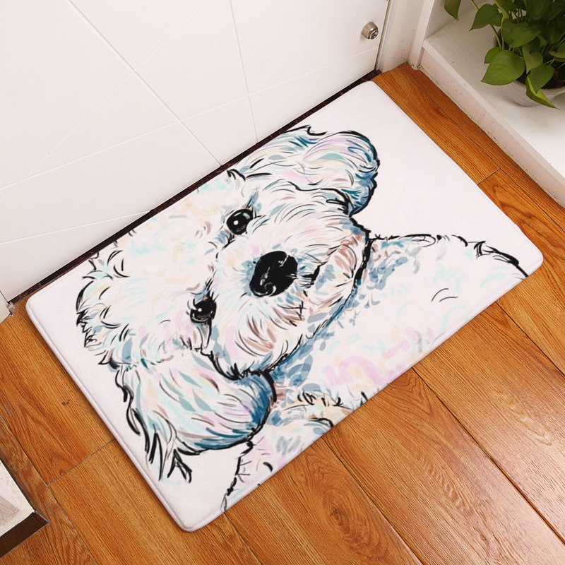 White Colorful Dog Portrait Door / Floor Mat Rug