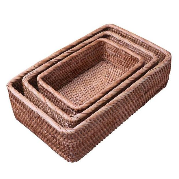 Multi-Purpose Rectangle Wicker Rattan Storage Basket