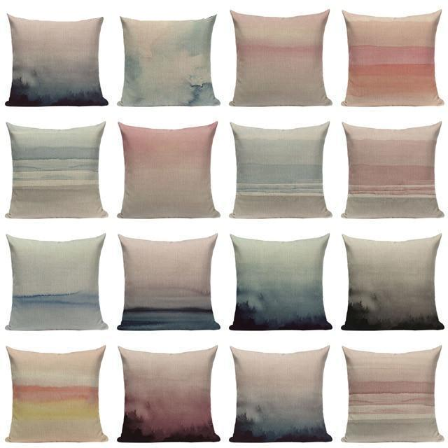 "18"" Abstract Watercolor Sky Throw Pillow Cover"
