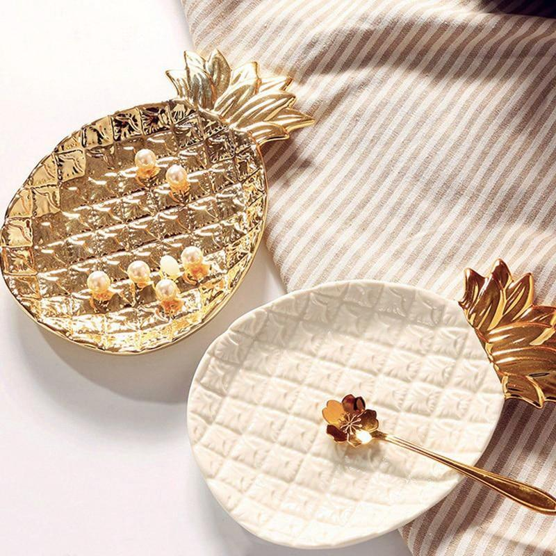 Gold Ceramic Pineapple Jewelry / Dessert Tray Dish