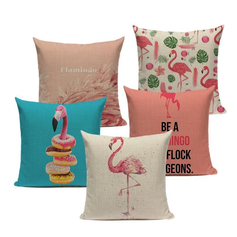 "18"" Eclectic Pink Flamingo Print Throw Pillow Cover"