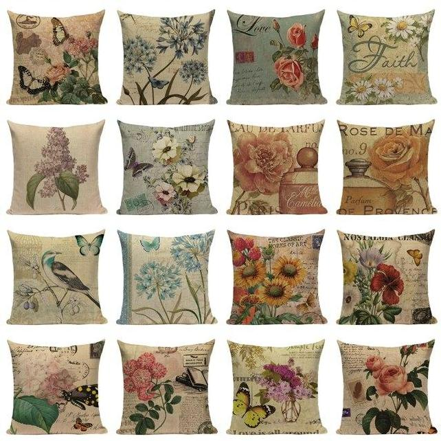 "18"" Vintage Flower / Butterfly Throw Pillow Cover"
