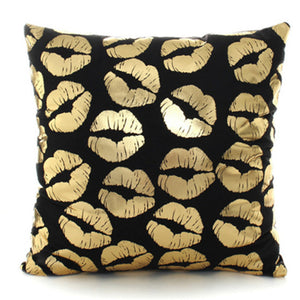 "18"" Black & Gold Printed Microfiber Throw Pillow Cover"