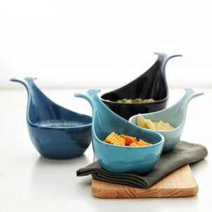 Blue Porcelain Whale Sauce / Snack Bowl Cups