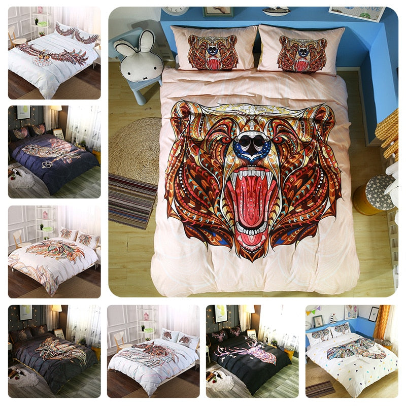 2/3-Piece Bohemian Animal Print Duvet Cover Set
