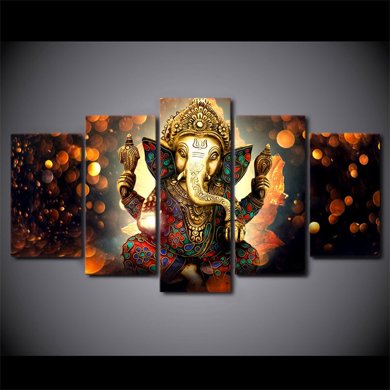 5-Piece Hindu Ganesha Elephant God Canvas Wall Art