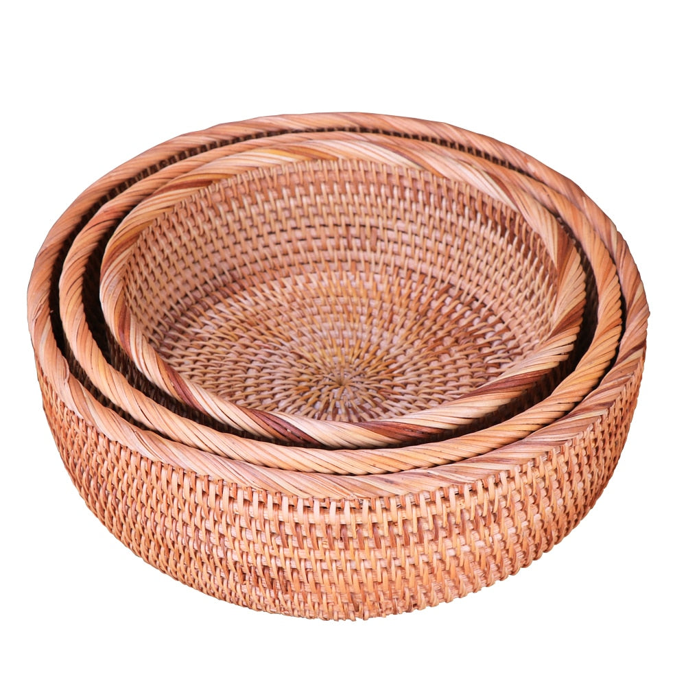 Multi-Purpose Round Wicker Rattan Storage Basket