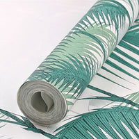Vertical Striped Tropical Palm Tree Pattern Wallpaper