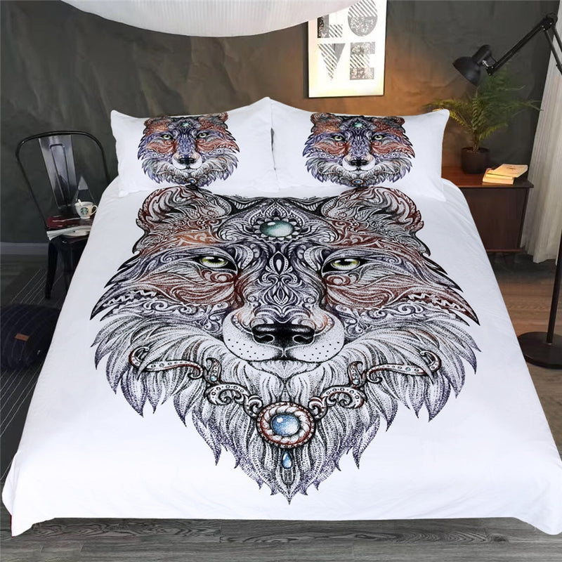 White 3-Piece Tattoo Wolf Head Duvet Cover Set