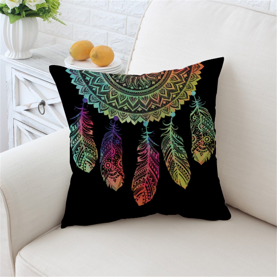 Black Rainbow Dreamcatcher Microfiber Pillow Cover
