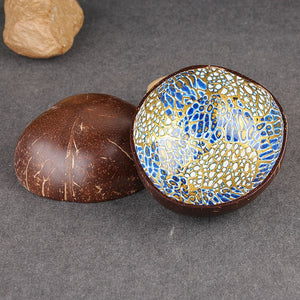 Multi-Color Webbed Gilt Coconut Shell Candy / Snack Bowl