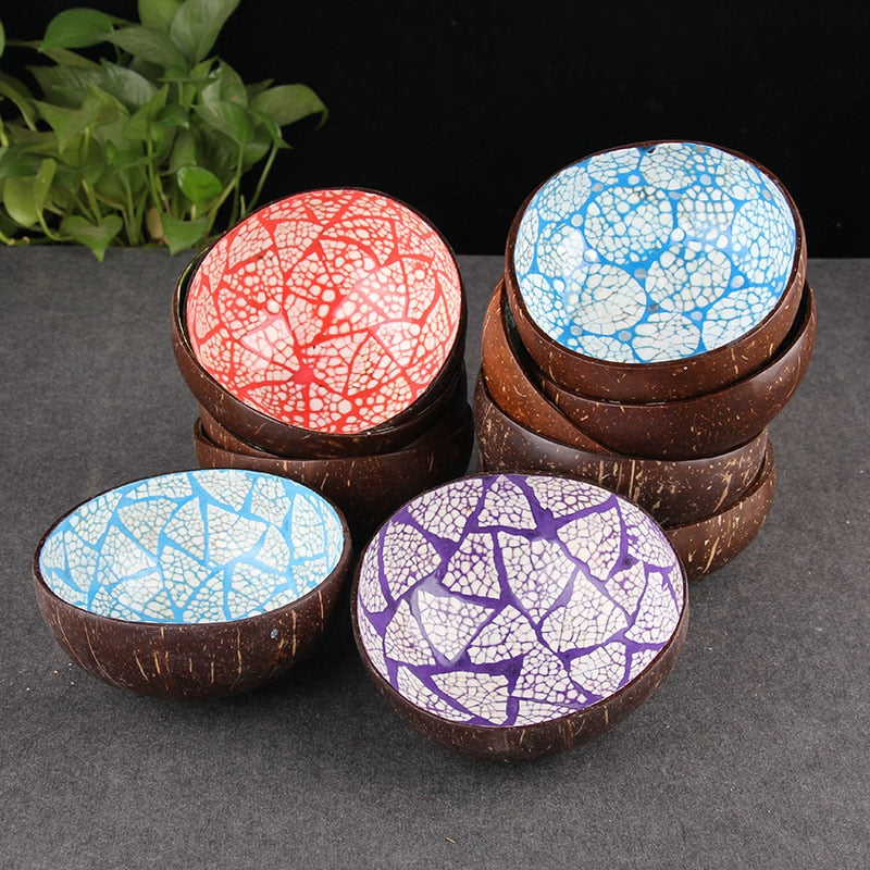 Cracked Mosaic Pattern Coconut Shell Candy / Snack Bowl