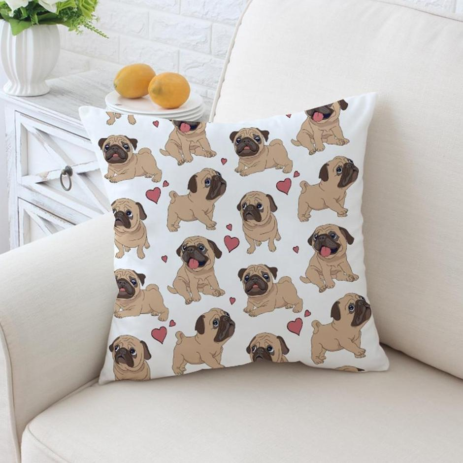 Pug Puppy Dog Love Microfiber Throw Pillow Cover
