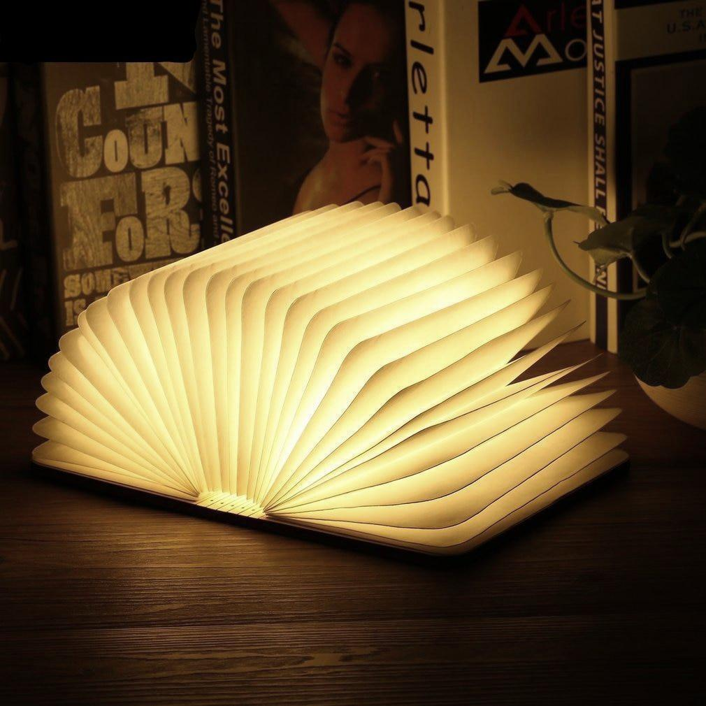 Foldable Wooden LED Book Lamp / Night Light