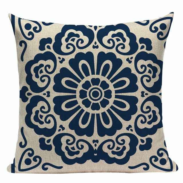 "18"" Oriental Blue Floral Geometric Pattern Pillow Cover"