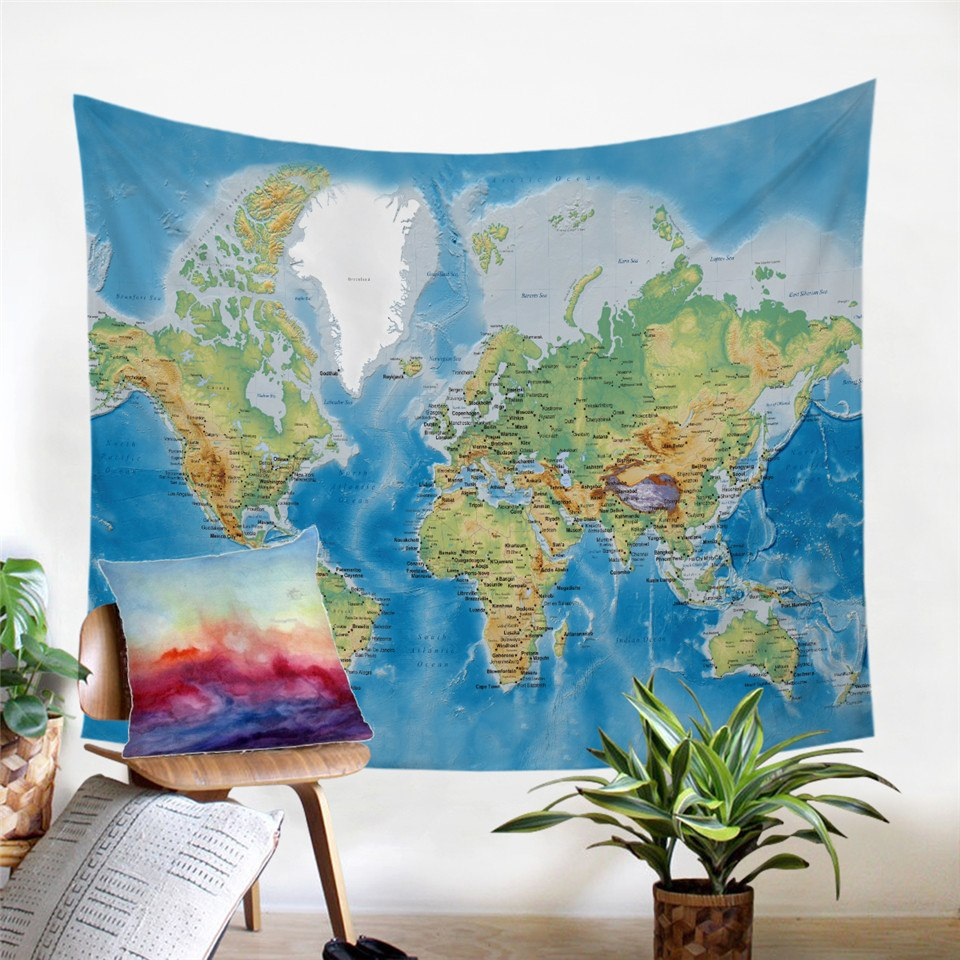 Blue Classic World Map Wall Tapestry
