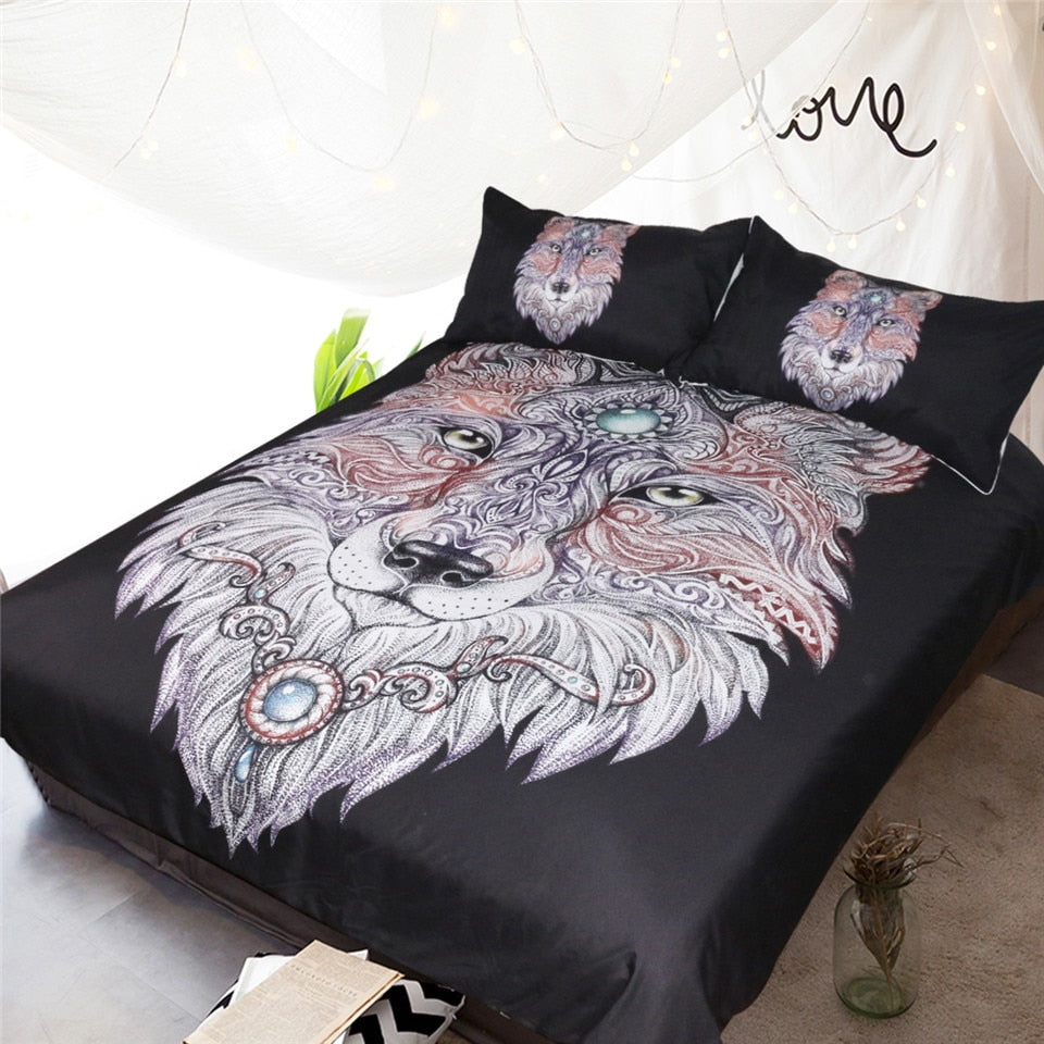 Black 3-Piece Tattoo Wolf Head Duvet Cover Bedding Set