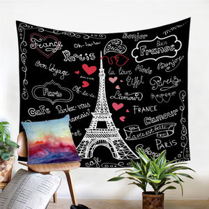 Black Paris Eiffel Tower Doodle Print Wall Tapestry