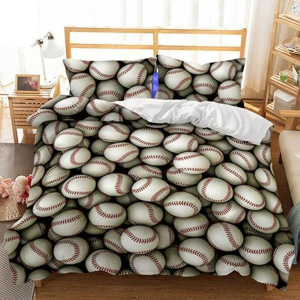 2/3-piece Baseball Print Duvet Cover Bedding Set