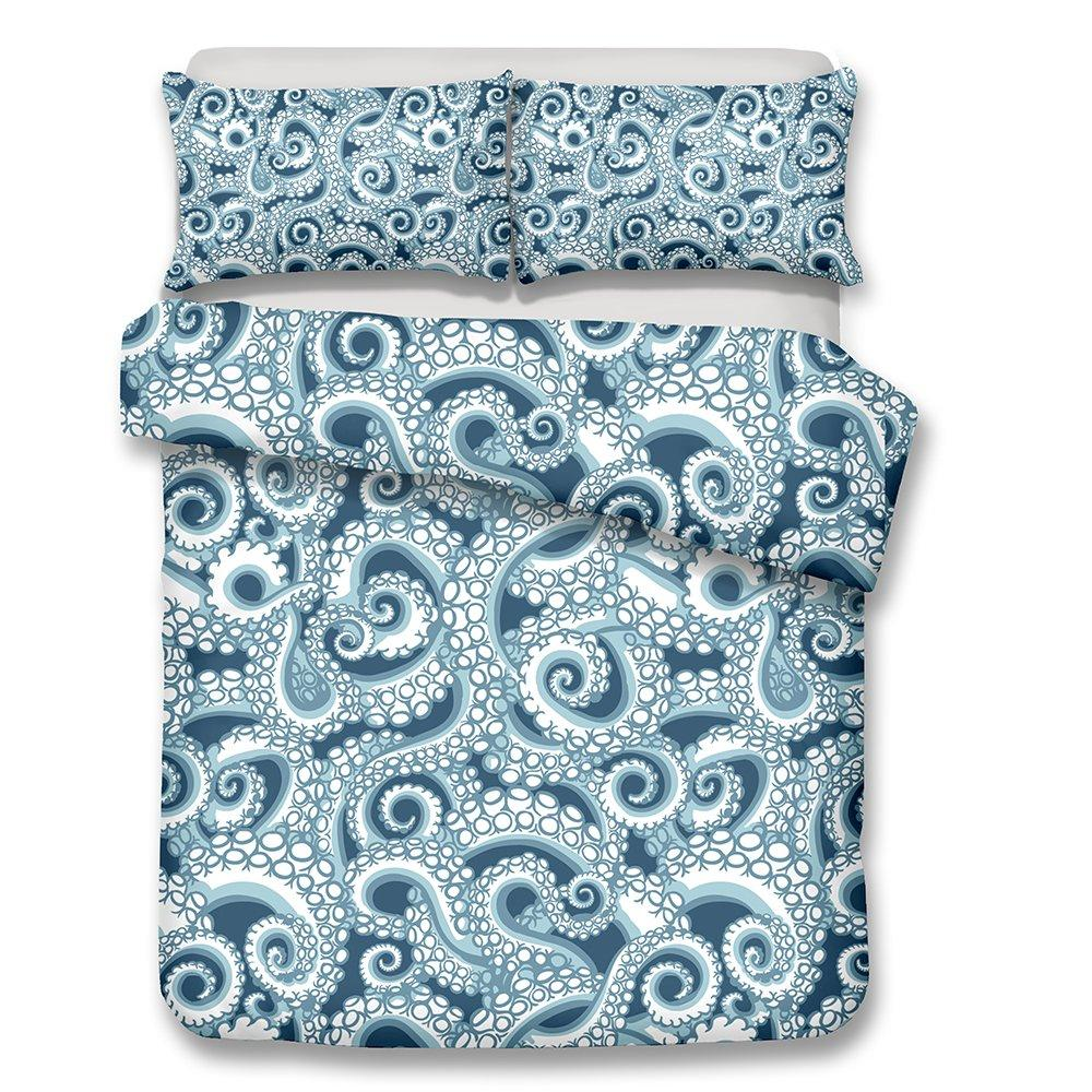 2/3-Piece Blue Octopus Pattern Duvet Cover Bedding Set