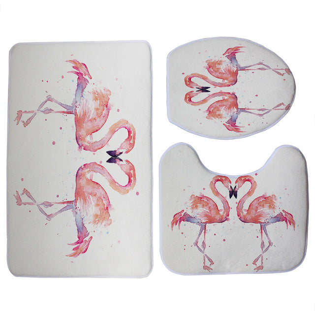 White 3-Piece Pink Flamingo Print Bathroom Mat Set
